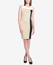 Tommy Hilfiger Colorblocked Grommet-Trimmed Sheath Dress