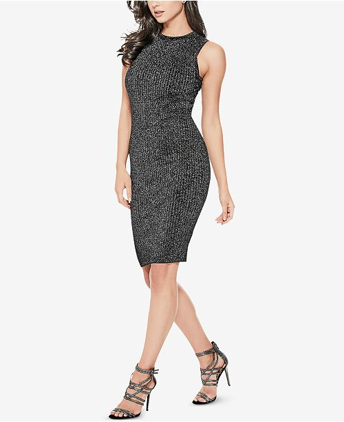 9aca8a24b15 GUESS Nathalie Shimmer Lace-Up Sweater Dress   Reviews - Dresses ...