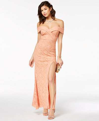 City Studios Juniors' Off-The-Shoulder Lace Gown, Created for Macy's