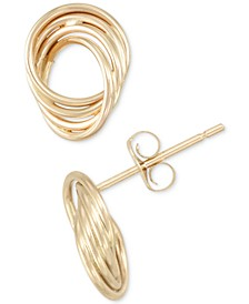 Polished Love Knot Stud Earrings in 10k Gold