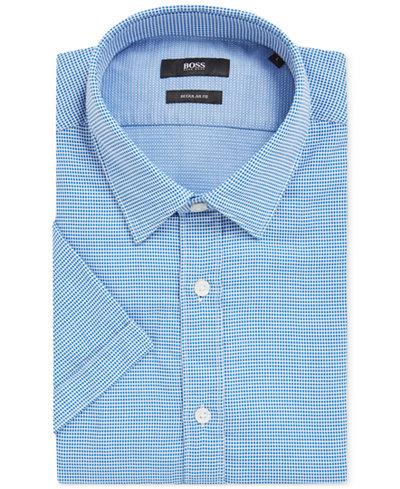BOSS Men's Regular/Classic-Fit Nailhead Cotton Sport Shirt