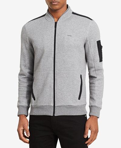 Calvin Klein Men's Textured Double-Collar Full-Zip Jacket