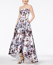 Xscape Strapless Floral-Print Ballgown