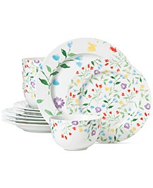 CLOSEOUT! Martha Stewart Collection Floral 12-Pc. Dinnerware Set, Created for Macy's