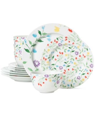 main image; main image ...  sc 1 st  Macy\u0027s & Martha Stewart Collection Floral 12-Pc. Dinnerware Set Created for ...
