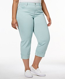 Plus Size Curvy Cuffed Capri Jeans, Created for Macy's