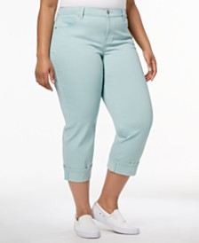 Style & Co Plus Size Curvy Cuffed Capri Jeans, Created for Macy's