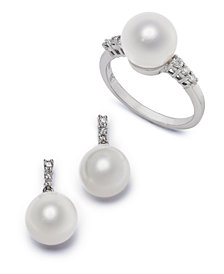 Cultured Freshwater Pearl & Diamond Accent Jewelry Collection in 14k White Gold