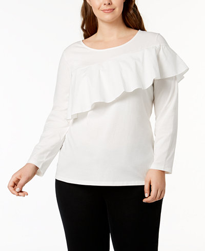 Style & Co Plus Size Asymmetrical Ruffle Top, Created for Macy's