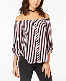 Polly & Esther Juniors' Printed Off-The-Shoulder Shirt