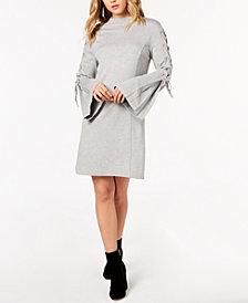 kensie Lace-Up Ponté-Knit Dress