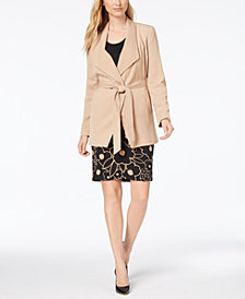 Nine West Tie-Front Trench Coat & Floral-Print Pencil Skirt