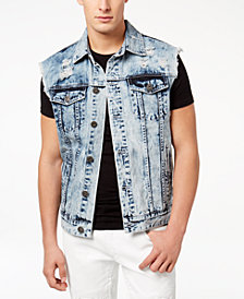 I.N.C. Men's Acid Wash Cut-Off Denim Jacket, Created for Macy's