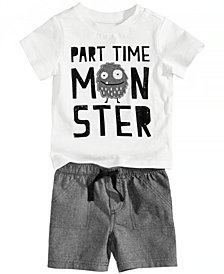 First Impressions Monster-Print T-Shirt & Chambray Shorts, Baby Boys, Created for Macy's