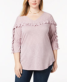 Love Scarlett Plus Size Lace-Yoke Ruffle Top