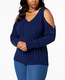 Love Scarlett Plus Size Cold-Shoulder Cable-Knit Sweater