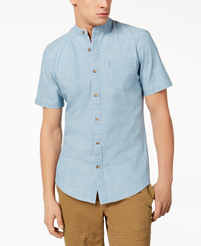 American Rag Men's Band Collar Chambray Shirt, Created for Macy's