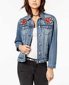Crave Fame by Almost Famous Juniors' Applique Studded Denim Jacket
