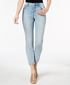 Style & Co Petite Pearl Embellished Skinny Ankle Jeans, Created for Macy's