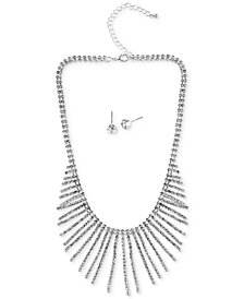 Say Yes to the Prom Silver-Tone Crystal Statement Necklace & Stud Earrings Set