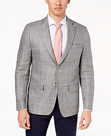 CLOSEOUT! Lauren Ralph Lauren Men's Classic-Fit Ultraflex Gray Windowpane Linen Sport Coat