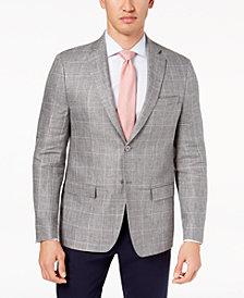 CLOSEOUT! Lauren Ralph Lauren Men's Classic-Fit Ultraflex Gray Windowpane Linen Sport Coat