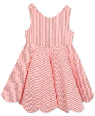 Scalloped-Hem Seersucker Dress, Big Girls