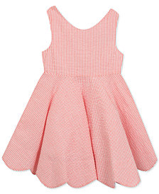 Rare Editions Scalloped-Hem Seersucker Dress, Big Girls