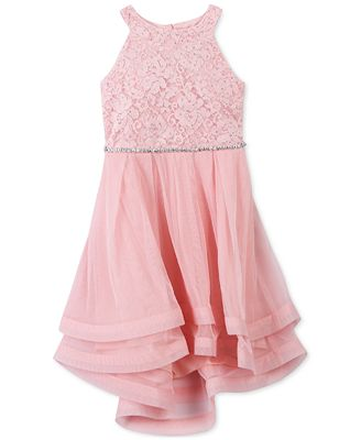 Speechless Glitter Lace-Bodice Dress, Little Girls
