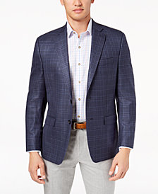 Lauren Ralph Lauren Men's Big & Tall Classic-Fit Ultraflex Navy Windowpane Plaid Silk and Wool Sport Coat