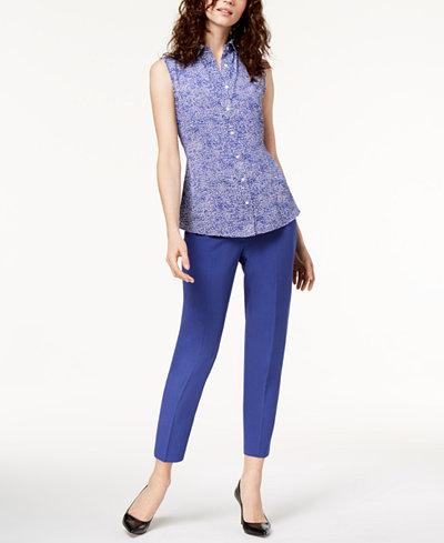 Anne Klein Printed Blouse & Slim-Fit Pants