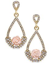 I.N.C. Gold-Tone Carved Rose & Pavé Teardrop Drop Earrings, Created for Macy's