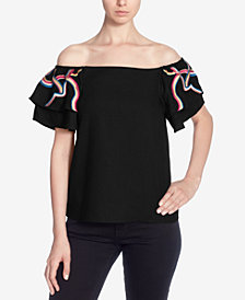 Catherine Catherine Malandrino Embroidered Off-The-Shoulder Top