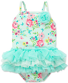 Little Me Floral-Print Tutu Swimsuit, Baby Girls