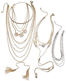 I.N.C. Two-Tone Multi-Stone & Imitation Pearl Necklace Separates, Created for Macy's