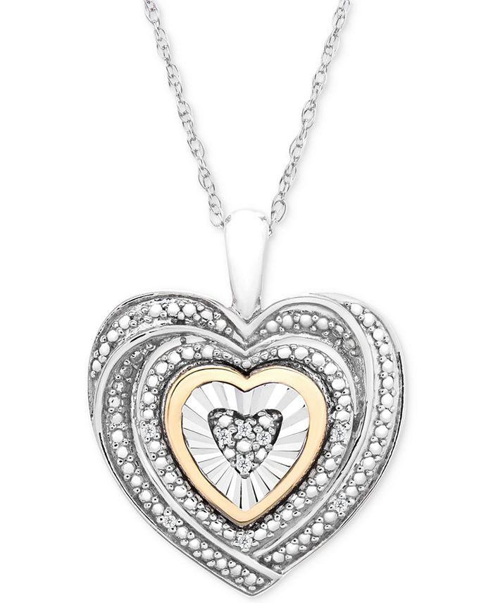 Macy's - Diamond Accent Two-Tone Heart Pendant Necklace in Sterling Silver and 10k Gold