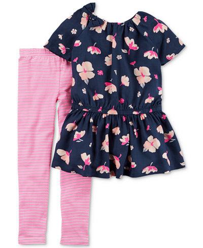 Carter's 2-Pc. Floral-Print Peplum Top & Leggings Set, Little Girls & Big Girls