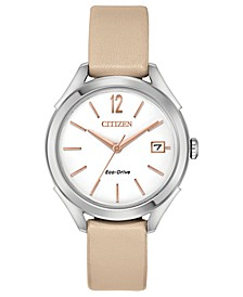 Drive From Citizen Eco-Drive Women's Beige Leather Strap Watch 34mm