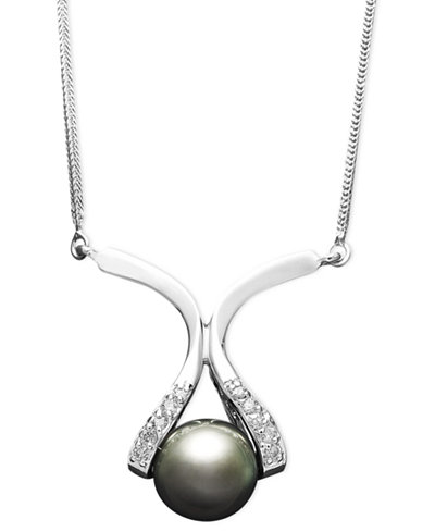 14k Gold Necklace, Cultured Tahitian Pearl (8mm) and Diamond Accent Pendant