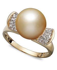 14k Gold Ring, Cultured Golden South Sea Pearl (10mm) and Diamond (1/8 ct. t.w.) Ring