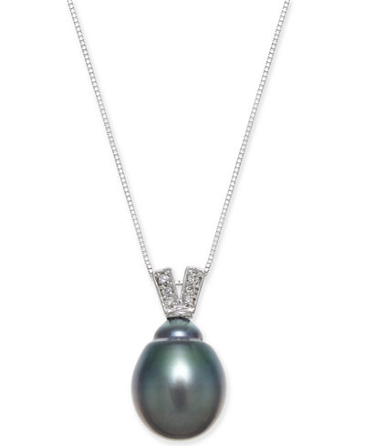 Black Cultured Tahitian Pearl (11mm) & Diamond Accent Pendant Necklace in 14k White Gold