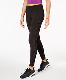 Material Girl Active Juniors' Mesh & Lace-Up Leggings, Created for Macy's