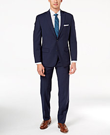 Michael Kors Men's Big and Tall Classic-Fit Navy Mini-Grid Suit
