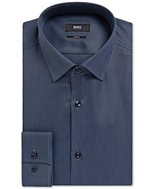BOSS Men's Slim-Fit Geometric Cotton Dress Shirt