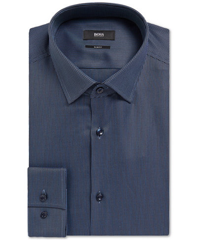 BOSS Men's Slim-Fit Geometric Cotton Dress Shirt