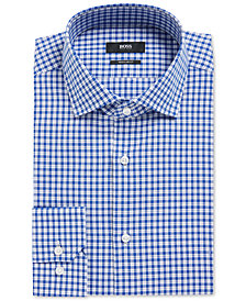 BOSS Men's Regular/Classic-Fit Houndstooth Checked Cotton Dress Shirt