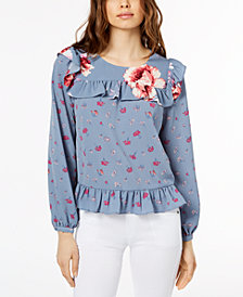 Jill Jill Stuart Floral-Print Ruffled Top, Created for Macy's