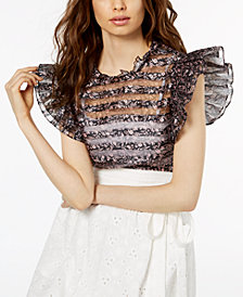 Jill Jill Stuart Ruffled Illusion Top, Created for Macy's