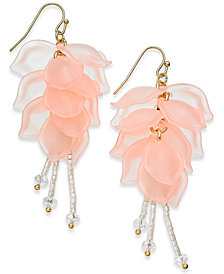 I.N.C. Gold-Tone Petal & Bead Drop Earrings, Created for Macy's