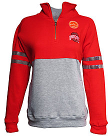 J America Women's Ohio State Buckeyes Sequin Arm Stripe Quarter-Zip Pullover